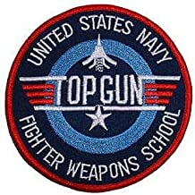 """Original Famous Patches & Appliques Usn, Top Gun Fighter - Embroidered Patches, Premium Quality Iron On Patch - 3"""""""