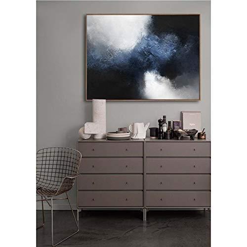 KDLLK Blue Canvas Art Black White Painting Large Abstract Painting Horizontal Wall Art Handmade Large Wall Art Canvas Art