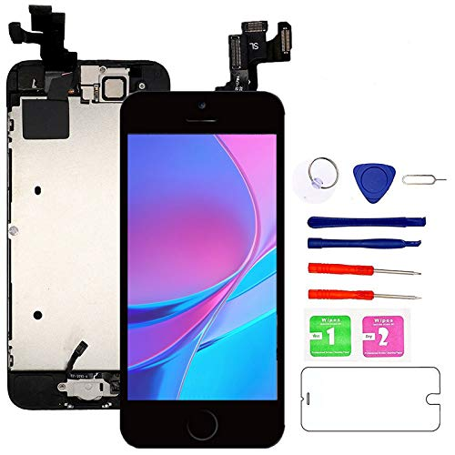 Nroech for iPhone 5S/SE Screen Replacement Black, with Home Button, Front Camera, Ear Speaker Full Assembly LCD Display Digitizer Touch Screen Repair Kits for A1530/A1528/A1518/A1533/A1453/A1457