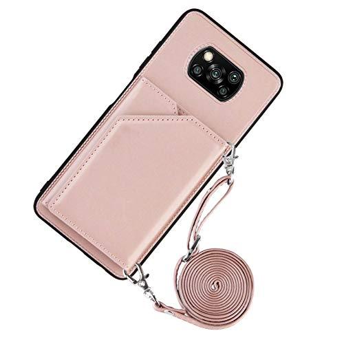 Lanyard Brieftasche Kreditkartenetui Handyhülle für Xiaomi Poco X3 NFC (Roségold)