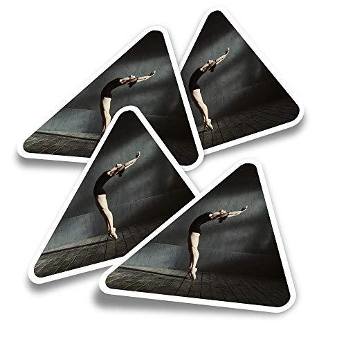 Pegatinas triangulares de vinilo (juego de 4) – Calcomanías profesionales para bailarinas de ballet para portátiles, tabletas, equipajes, reservas, neveras #16710