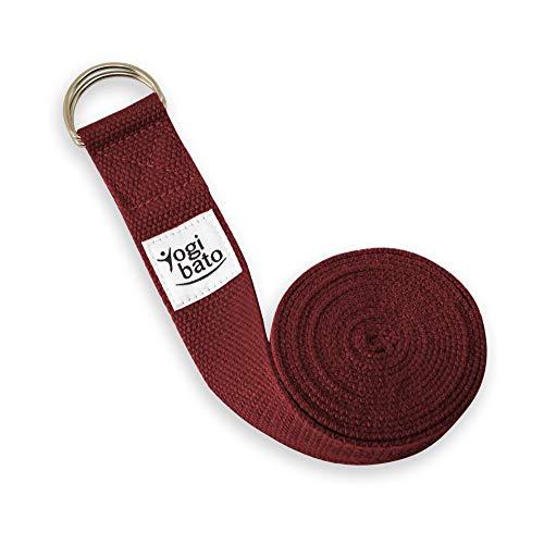 Yogibato Yogagurt 100% Baumwolle |240 x 3,8 cm | Band zur besseren Dehnung – Cotton Strap – Yogaband mit Verschluss aus Metall – Yoga Gurt Bordeaux