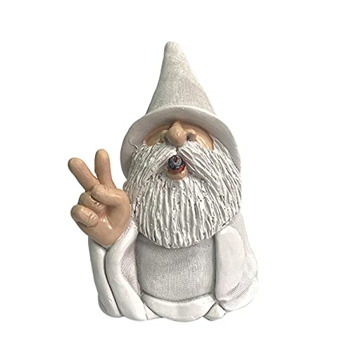 showyow Estatua de gnomo de jardín, Barba Blanca, enana, terraza, Patio, Estatua de Resina, jardín, césped, decoración Interior o Exterior