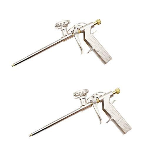 CINY 2 piezas Pistola de Espuma De Poliuretano, Pistola De Aplicación De Pulverización De Pu De Alta Resistencia De Metal, Aplicar Espuma Expansiva En Pequeños Huecos Para Sellar, Rellenar (Dorado)