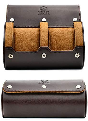 Watch Travel Case for Men - 2 Watch Roll Case Organizer Display - Watch Case - Watch Organizer - Espresso Brown - MIRAGE