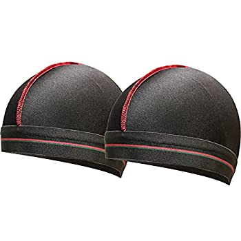 2PCS Black Silky Elastic Wave Cap Stocking Compression Caps for Men 360 540 and 720 Waves