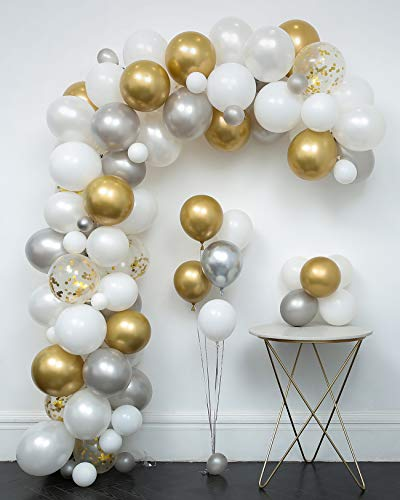 White and Gold Confetti Balloons Arch & Garland Kit 110 pcs 12in Latex Metallic Pearlescent Balloon with Decorating Strip+Tying Tools+Points Stickers+Flower Clips+Silver Ribbons for Wedding Decoration