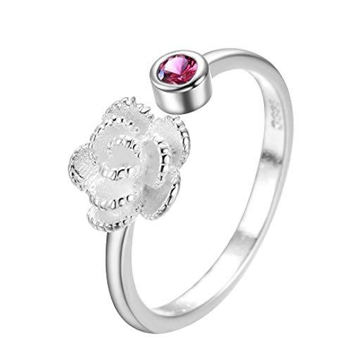 LG GL Anillo S925 Plata Simple Flash Diamante Flor de Apertura Anillo Venta de Dos Piezas
