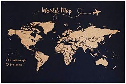 Decowood - Mapa Mundi de Corcho, Pequeño, para Marcar Tus Viajes por el Mundo y Colgar en la Pared, Fondo Negro - 60x45cm: Amazon.es: Hogar