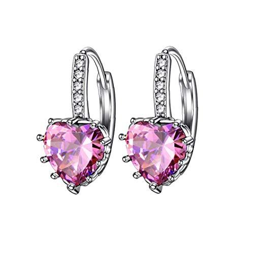 ZYCX123 En Forma de corazón Pendientes Zircon Rhinestone cuelga el oído de la joyería de la Boda del aro hipoalergénico Mujeres Rosa Encantador