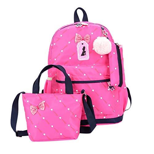 Leedy, set di 3 borse per la scuola, a tracolla, a portafoglio, con borse da scuola, stampate, per ragazzi, ragazze e ragazzi, (Hot Pink), Taglia unica