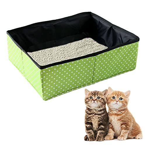 Faltbare Katzentoilette, Tragbare Katzenklo für Katzentoilette, wasserdichte, Saubere und Weiche Katzentoilette für Reisen Den Heimgebrauch im Freien, Grün, L