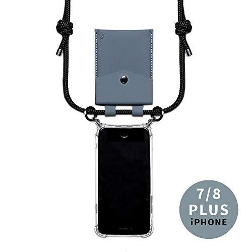 phonecover lover für iPhone 7 Plus/ 8 Plus - Handy-Kette für Smartphones mit Tasche als Kartenetui für Kleingeld - Stabile Handyhülle zum Umhängen für iPhone - Smartphone Necklace (graue Tasche)