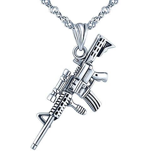 Yumilok 925 Sterling Silber Pistole Armee Gewehr Anhänger Halskette Kette mit Anhänger für Jungen Mädchen
