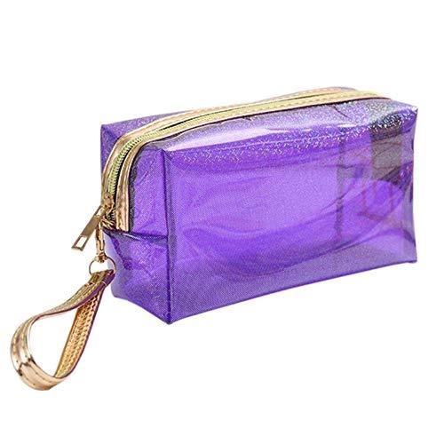 Sac cosmétique Mode Poche étanche Transparente Creative Portable Splash Proof Maquillage Pochette Trousse de Toilette pour Voyage 6.89 * 4.13inch-Purple_6.89 * 4.13inch