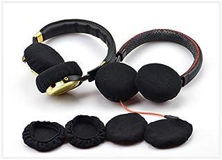 Rhinenet - Fundas para auriculares (elásticas y lavables) Se adapta a auriculares de 6 ~ 11 cm / bueno para Bose, Beats (negro, 2 pares)