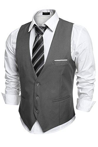 Coofandy Men's V-Neck Sleeveless Slim Fit Jacket Casual Suit Vests,Large,Dark Gray