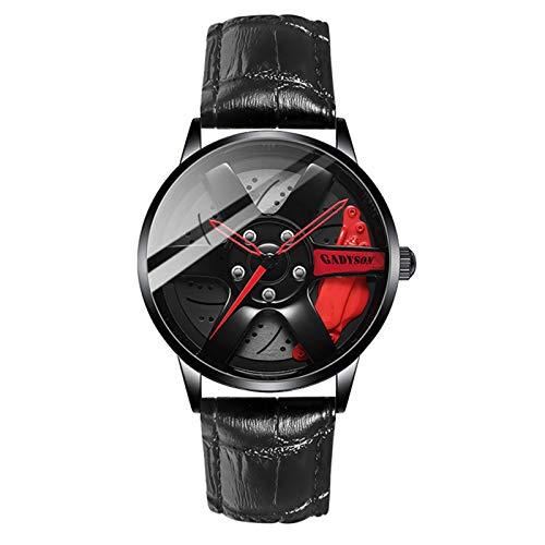 Bsemax Relojes para Hombres Reloj de Impermeable Inoxidable Acero Inoxidable Pulsera de Cuarzo Relojes Deportivos para Hombre con diseño de Cubo de Rueda de Coche