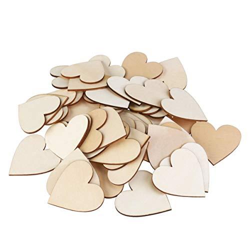 WINOMO 50pcs 6cm discos de corazones de madera blancos para manualidades de...