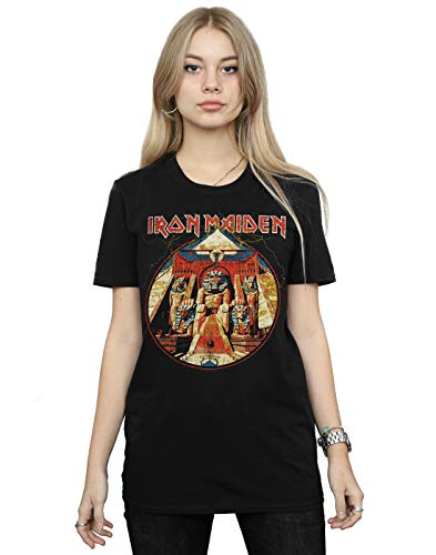 Absolute Cult Iron Maiden Mujer Powerslave Lightning Circle Camiseta del Novio Fit Negro X-Large