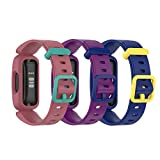 Compatible with Fitbit Ace 3 Bands for Kids, Silicone Replacement Band Water Resistant Fitness Watch Straps for Fitbit Ace 3 Kid's Band (3-Pack)