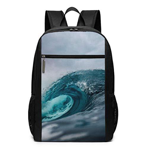 AOOEDM Travel Backpacks Ocean Water Wave Art School Shoulder Laptop Daypack Bags 17 Inch for Girls Boys Men Womens, Black