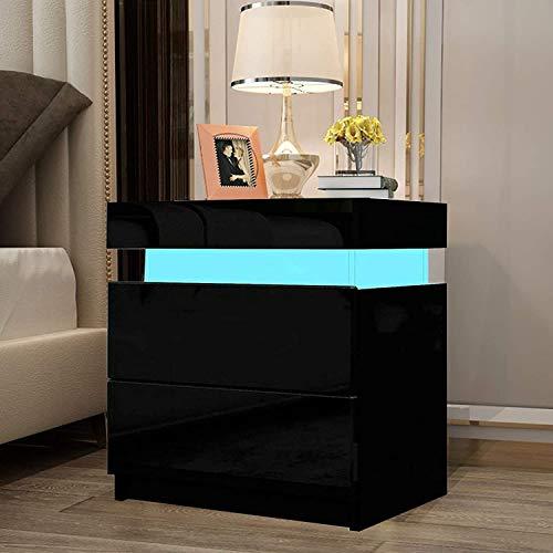 YOLEO 1x Nachttisch Nachtschrank LED Nachtkommode Nachtkonsole Hochglanz/Front Kommode Schrank mit 2 Schubladen- LED Beleuchtung -für Schlafzimmer/Wohnzimmer (Schwarz / 45x35x52)