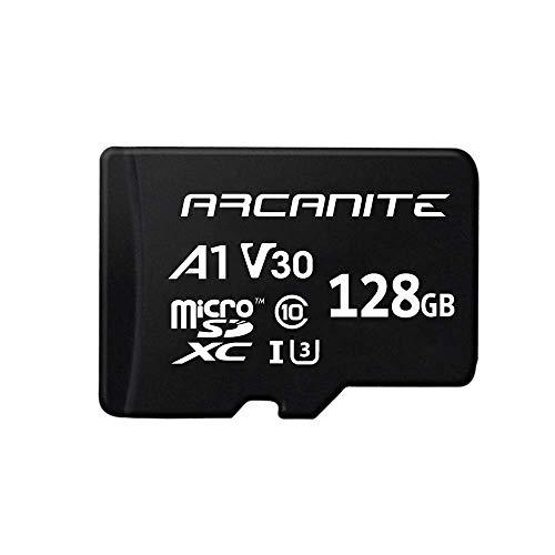 ARCANITE 128 GB microSDXC-Speicherkarte mit Adapter - UHS-I U3, A1, V30, 4K, C10, microSD, Lesegeschwindigkeiten von bis zu 90 MB/s.
