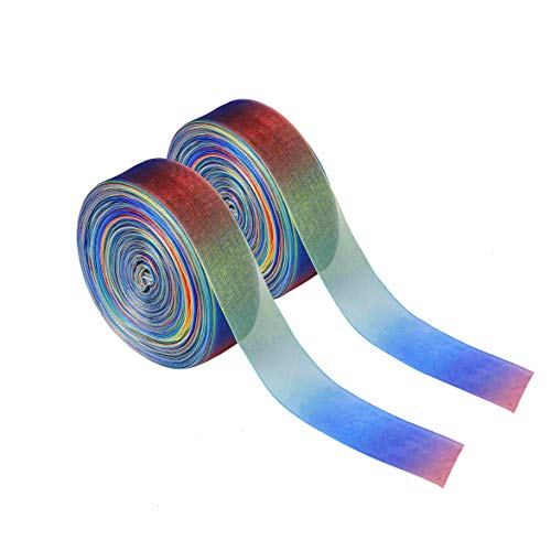 Cinta de Organza 100 Yardas Colorido Gradiente Shimmer Sheer Satén Cintas Colores de Arco Iris para DIY Manualidades Bodas Fiestas Cumpleaños Festivales Decoración 25mm