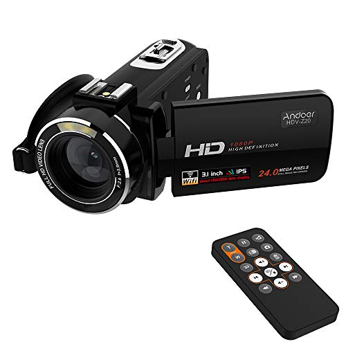 Andoer Digital Video Camera Camcorders HDV-Z20 1920x1080P 24MP 16x Zoom Full HD WiFi 3.0inch Rotatable LCD Touchscreen 64GB Camcorder with Remote Control