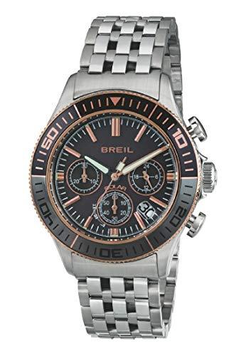 Armbanduhr BREIL Mann Manta 1970 quadrante schwarz e uhrarmband in Stahl schwarz-grau, Werk Chrono SOLAR-Uhr