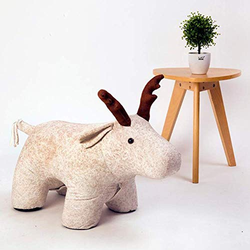 HEWEI Children's Footstool Seat Stool Creative Deer Ottoman Sofa Bench Shoe Bench Give The Best Gift for Children for Balcony Living Room Bedroom A