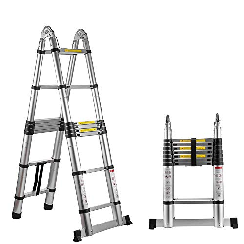 "Hihone 16.5"" Telescoping Ladder, A-Frame Portable Folding Telescopic Extension Ladder 300LBS Capacity, Heavy Duty Aluminum Material Anti-Slip Foot, with Spring Loaded Locking Each Rung"