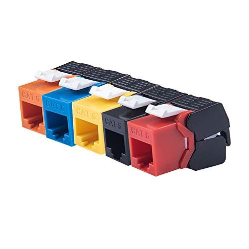 BoaInx Cable de Red con GIGABIT ETHERNET RJ45 CAT6 Colorido Keystone Jacks TOOLESS Tipo Módulos de Red Conexión sin Herramientas 7 Colores para Opcional para Internet