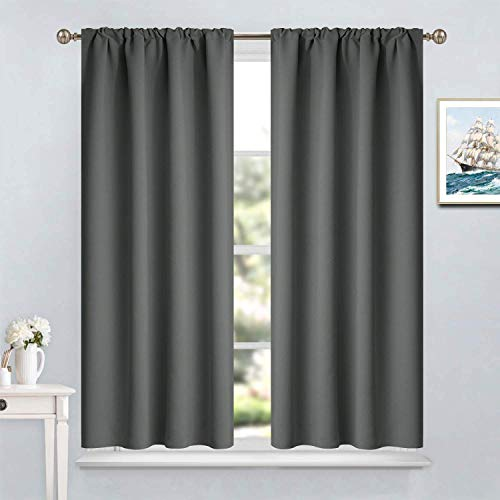 Yakamok Room Darkening Drapes Blackout Curtains Thermal Insulated Rod Pocket Curtain Panels for Bedroom, 38W x 45L, Dark Grey, 2 Panels