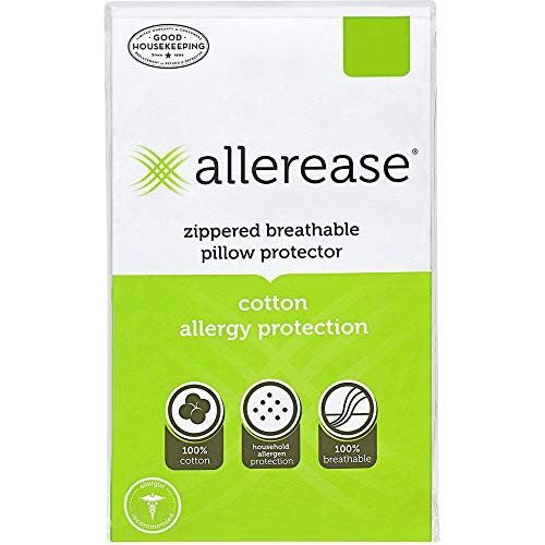 Aller-Ease AllerEase Cotton Allergy Protection, Standard, 4 Pack Pillow Protectors White (Renewed)