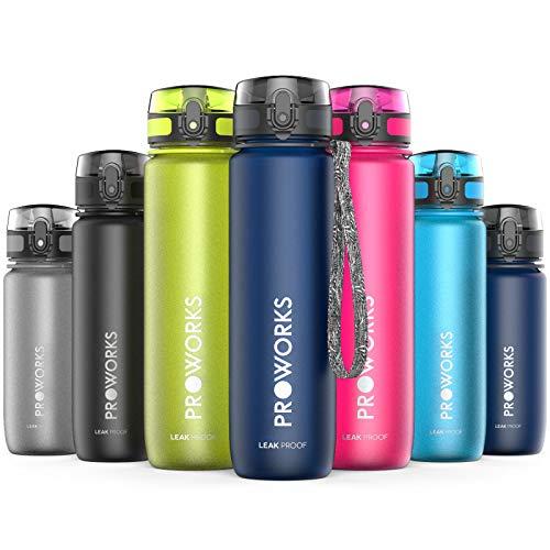 Proworks Trinkflasche, BPA Frei Tritan Wasserflasche Auslaufsicher, Fitness Flasche für Sport, Joggen, Radfahren, Wandern und mehr, Water Bottle 0.4 Liter (14oz) - Dunkelblau