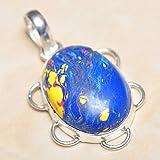 Handmade Rainbow Mosaic Jasper Gemstone 925 Sterling Silver Pendant 1.75#KS-5599