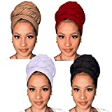 Kachanaa 4 Pieces Stretch Jersey Turbans Knit Head Wraps Scarfs Solid Color African Shawl Long Breathable Head Bands Tie for Black Women(S1)