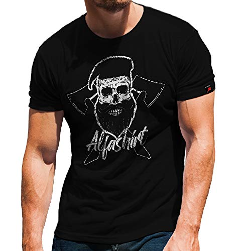 Skull Bart Viking bijl Bundeswehr Bw Alfashirt Bart hemd T-shirt #32205
