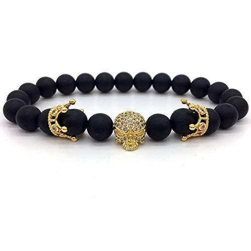 CHCO Pulsera de la corona de los hombres de 8 mm de piedra gris perlas de la pulsera del encanto para los hombres de la moda pulsera de la joyería de regalo