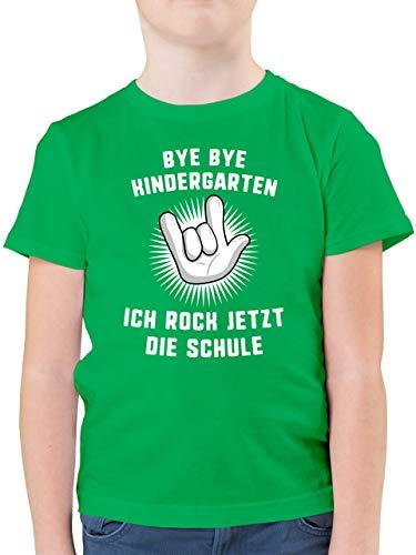 Einschulung und Schulanfang - Bye Bye Kindergarten Ich Rock jetzt die Schule Hand - 140 (9/11 Jahre) - Grün - t-Shirt Schulkind - F130K - Kinder Tshirts und T-Shirt für Jungen
