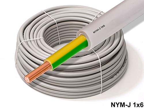 20 Meter - 1x6mm² Potentialausgleich Erdungskabel - XmediaSat NYM-J 1x 6mm² grau