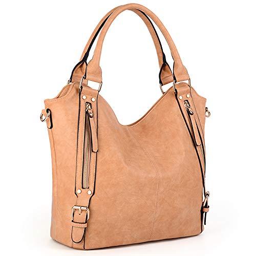UTO Damen Tote Bags Handtaschen Cross Body Schultertaschen PU Leder Große Kapazität Innen Reißverschlusstaschen Äußere Seitentaschen Apricot
