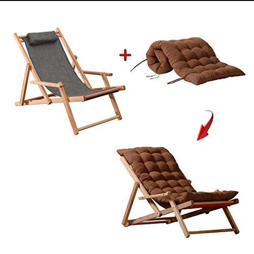 SMBYLL Chaise Longue paresseuse, Balcon extérieur pour la Pause du midi, Pliable en Bois Massif, Facile à Transporter. Chaise Pliante (Color : Brown)