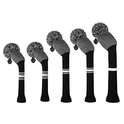 ゴルフクラブカバーは、ドライバーウッド(460 cc)1フェアウェイWood 2とハイブリッド(UT)2のためにぴったりの5つの二重層糸編みスタイル・スタイルのセットをカバーしました (Black and White Dot)