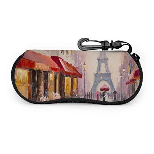 AEMAPE Pintura al óleo original Torre Eiffel sobre lienzo Estuches de anteojos suaves para hombres Estuche de anteojos blandos Estuche ligero portátil Estuche de gafas de sol para niños
