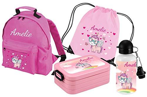 Mein Zwergenland Set 5 Kindergartenrucksack Classic und Brotdose Lunchbox Maxi, Turnbeutel...