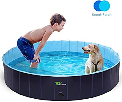 amzdeal Foldable Dog pet Swimming Pool for Large Dogs- 100% PVC, Anti-Slip Dog Pet Pool Bathing Tub, Kiddie Pool for Dogs Cats and Kids