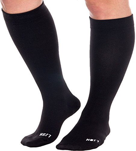 Plain Jane Wide Calf Compression Socks - Graduated 15-25 mmHg Knee High Plus Size...